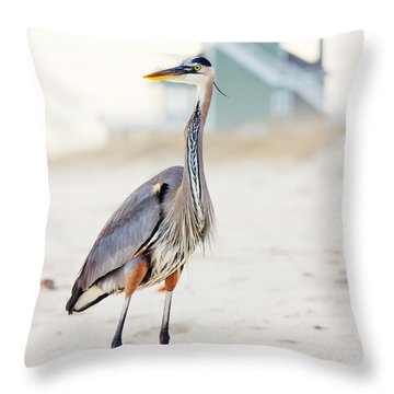 Heron And The Beach House Throw Pillow