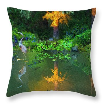 Heron Art Throw Pillow by Dale Stillman
