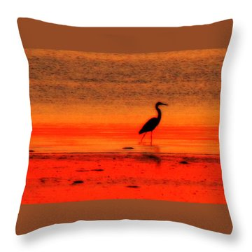 Heron At Dawn Throw Pillow