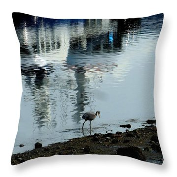 Heron At The Anacortes Marina Throw Pillow by Karen Molenaar Terrell
