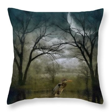 Heron By Moon Glow  Throw Pillow