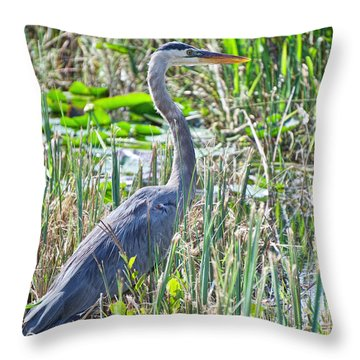 Heron By The Riverside Throw Pillow
