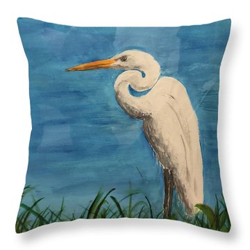 Throw Pillow featuring the painting Heron by Donald Paczynski