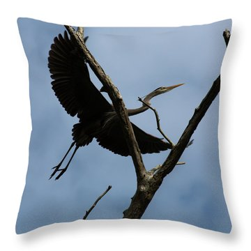 Heron Flight Throw Pillow