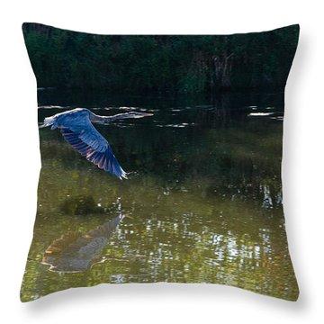 Heron Flight Throw Pillow