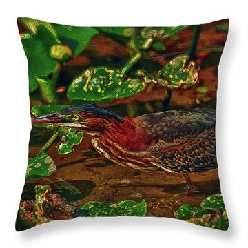 Heron Hdr Throw Pillow by Travis Burgess