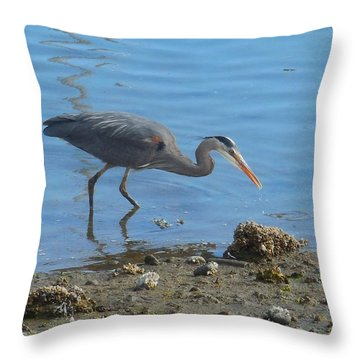 Heron In Anacortes Throw Pillow by Karen Molenaar Terrell