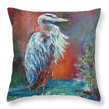 Heron In Color Throw Pillow