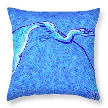Throw Pillow featuring the photograph Heron In Flight by Walt Foegelle