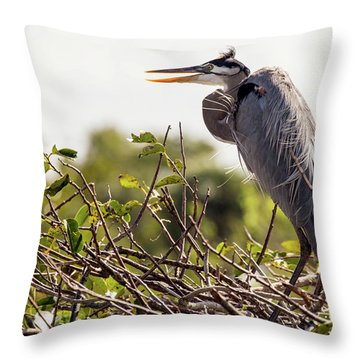 Heron In Its Nest Throw Pillow