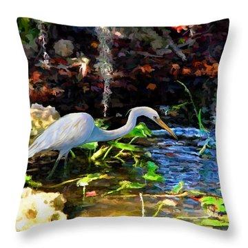 Heron In Quiet Pool Throw Pillow