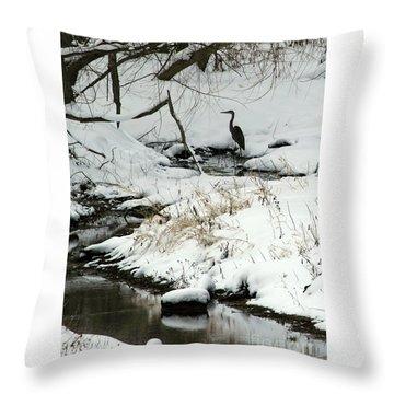 Heron In Winter Throw Pillow