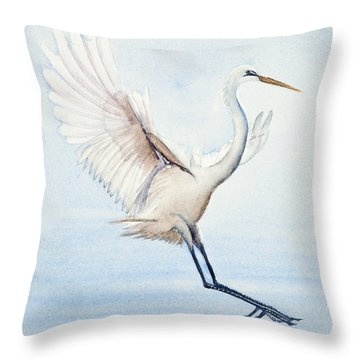 Heron Landing Watercolor Throw Pillow
