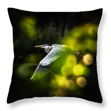 Throw Pillow featuring the photograph Heron Launch by Jim Proctor