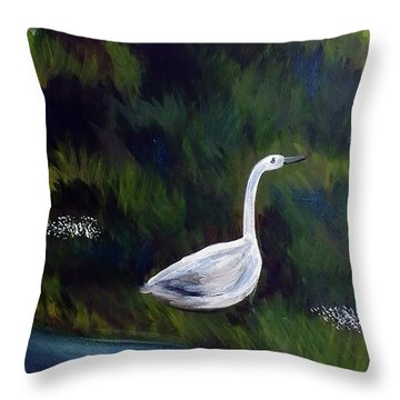 Heron Throw Pillow by Loretta Nash