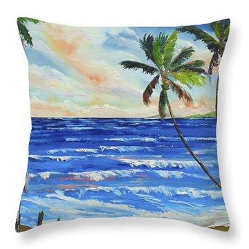 Heron On The Beach Throw Pillow