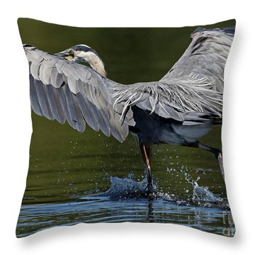 Heron On The Run Throw Pillow