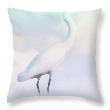 Heron Or Egret Stance Throw Pillow by Joseph Hollingsworth