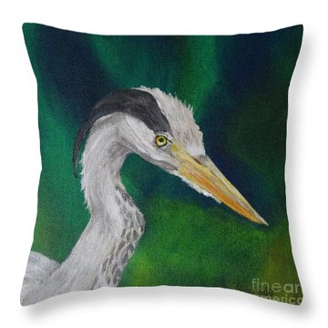Heron Painting Throw Pillow by Isabel Proffit