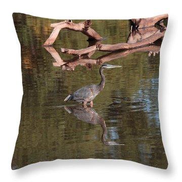 Heron Reflection Throw Pillow
