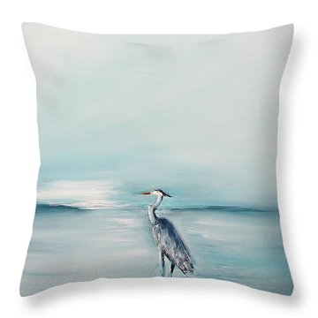 Heron Silence Throw Pillow