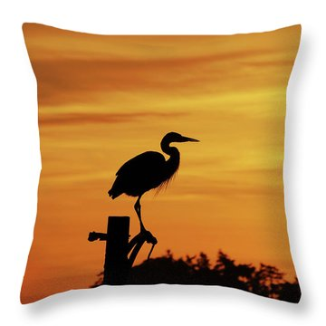 Heron Sunrise Throw Pillow by Rick Lawler