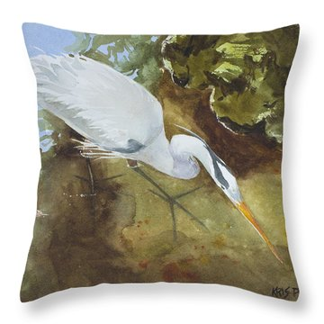 Heron Under The Bridge Throw Pillow
