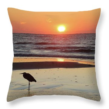Heron Watching Sunrise Throw Pillow