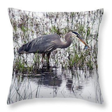Heron With Fish Throw Pillow