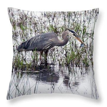 Heron With Fish Throw Pillow