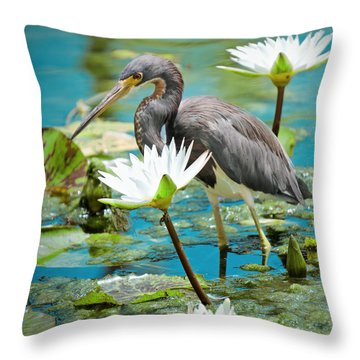 Heron With Water Lillies Throw Pillow