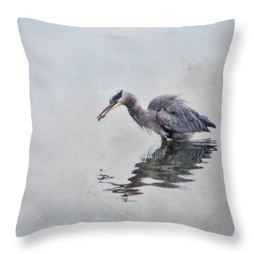 Heron Fishing  - Textured Throw Pillow