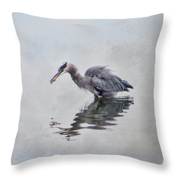 Heron Fishing  - Textured Throw Pillow