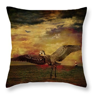 Herons Throw Pillow by Chris Lord