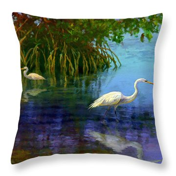 Herons In Mangroves Throw Pillow