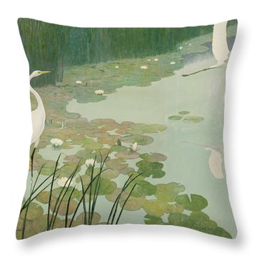 Herons In Summer Throw Pillow
