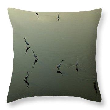 Herons On Lake 367 Throw Pillow