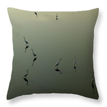 Herons On Lake 367 Throw Pillow