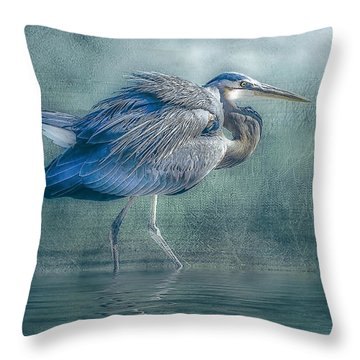 Heron's Pool Throw Pillow by Brian Tarr