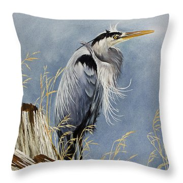 Throw Pillow featuring the painting Herons Windswept Shore by James Williamson