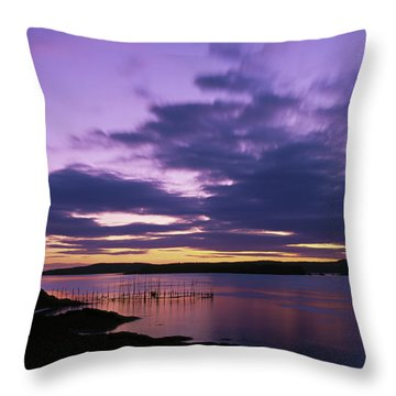Herring Weir, Sunset Throw Pillow