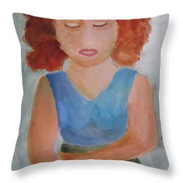 Throw Pillow featuring the painting Herself by Sandy McIntire