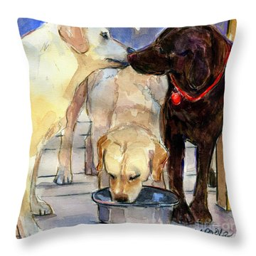 Throw Pillow featuring the painting Hershey Kiss by Molly Poole