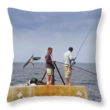 He's Behind You Throw Pillow by Terri Waters