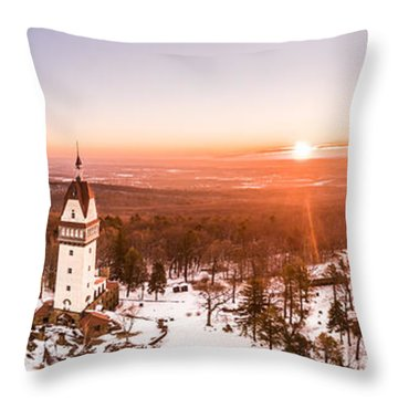 Throw Pillow featuring the photograph Heublein Tower In Simsbury Connecticut, Winter Sunrise Panorama by Petr Hejl