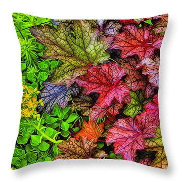Heuchera And Sedum Throw Pillow