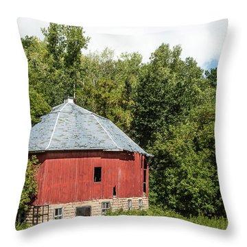 Throw Pillow featuring the photograph Hexagon Barn by Dan Traun