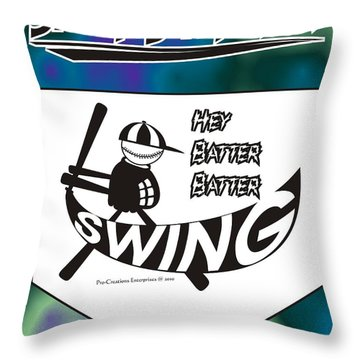 Hey Batter Batter Swing Throw Pillow by Maria Watt