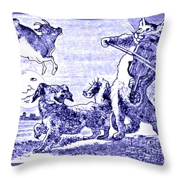 Hey Diddle Diddle The Cat And The Fiddle Nursery Rhyme Throw Pillow