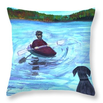 Throw Pillow featuring the painting Hey Where You Going  by Donna Walsh